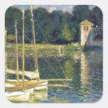 El puente en Argenteuil de Claude Monet Pegatina Cuadrada