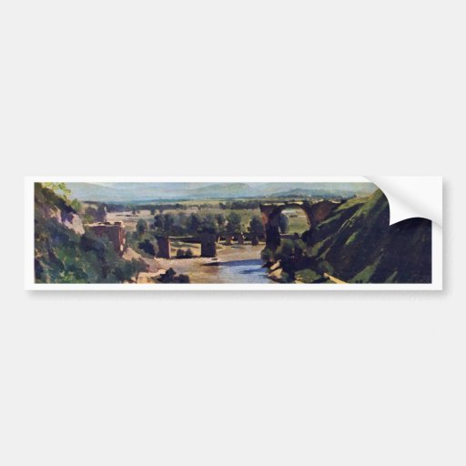 El puente en Narni de Corot Jean-Baptiste-Camilo Etiqueta De Parachoque