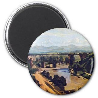El puente en Narni de Corot Jean-Baptiste-Camilo Imán Redondo 5 Cm