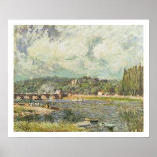 El puente en Sevres, c.1877 (aceite en lona) Póster
