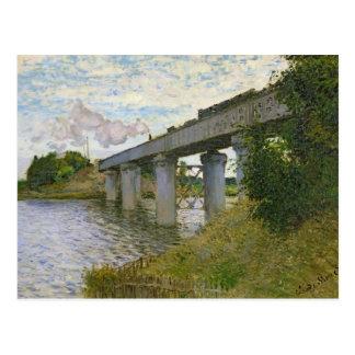 El puente ferroviario en Argenteuil, 1874 Tarjeta Postal