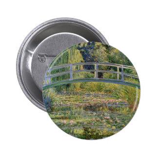 El puente japonés de Claude Monet Pin Redondo De 2 Pulgadas