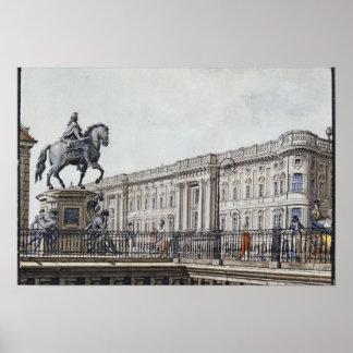 El puente largo con un monumento aristocrático póster