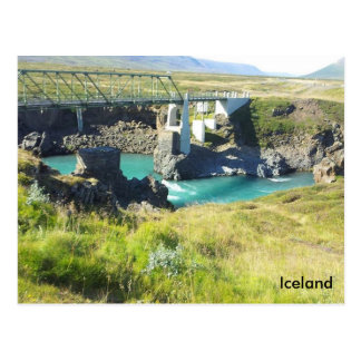 El puente que cruza el río de Skjálfandafljót, Tarjeta Postal