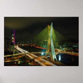 El puente Sao Paulo de Octavio Frias de Oliveira Poster