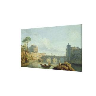 El puente y el castillo Sant'Angelo, 1745 Lienzo Envuelto Para Galerias