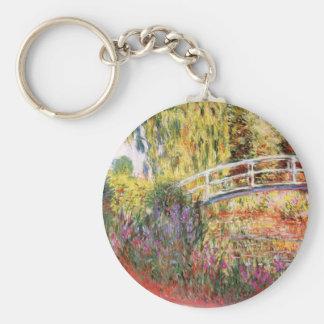 El puente y las flores de Monet Llavero Redondo Tipo Pin