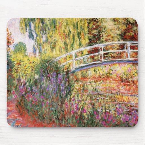 El puente y las flores de Monet Tapete De Ratón