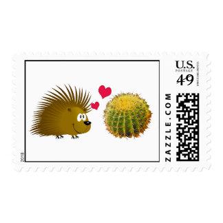 El puerco espín ama el cactus sello