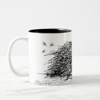El puerco espín enmelado de la canilla taza de café de dos colores
