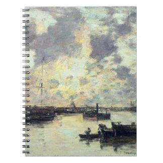 El puerto, c.1895 (aceite en el panel) spiral notebook