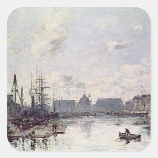 El puerto de comercio, Le Havre, 1892 Pegatina Cuadrada
