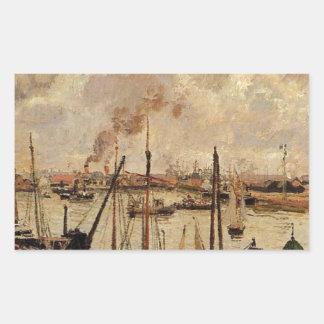 El puerto de Le Havre de Camille Pissarro Pegatina Rectangular