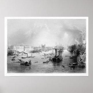 El puerto de Londres 1840 Póster