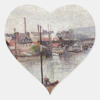 El puerto de Ruán 2 de Camille Pissarro Pegatina En Forma De Corazón
