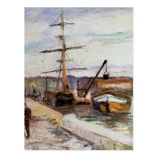 El puerto de Ruán de Camille Pissarro Tarjeta Postal
