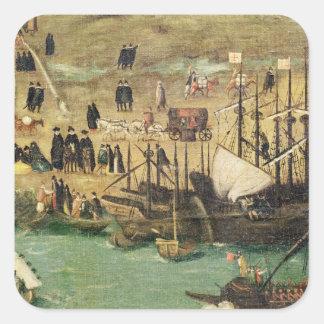 El puerto de Sevilla, c.1590 Calcomanía Cuadradase