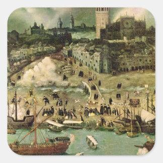 El puerto de Sevilla, c.1590 Calcomanías Cuadradas