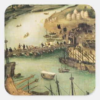 El puerto de Sevilla, c.1590 Calcomanías Cuadradass Personalizadas