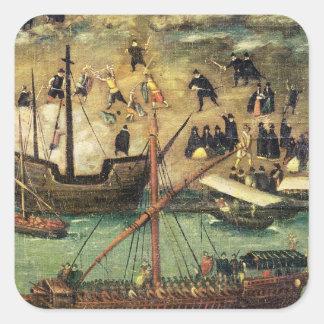 El puerto de Sevilla, c.1590 Pegatina Cuadradas