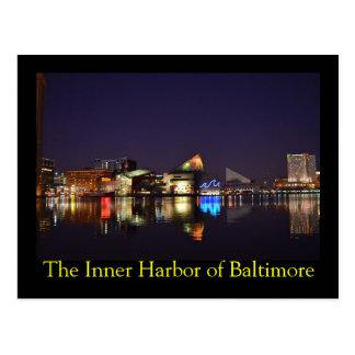 El puerto interno de Baltimore en la noche Tarjeta Postal