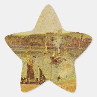 El puerto interno, Dieppe de Camille Pissarro Pegatina En Forma De Estrella