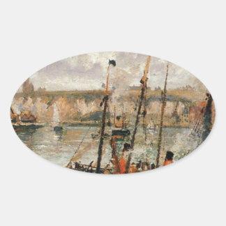 El puerto interno, Dpeppe, alta marea, mañana, Pegatina Ovalada