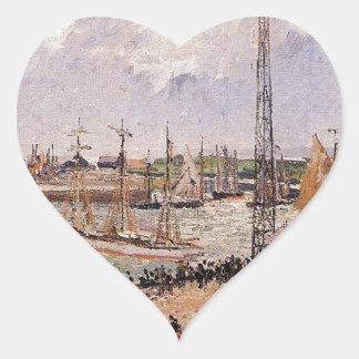 El puerto interno, Havre de Camille Pissarro Pegatina En Forma De Corazón