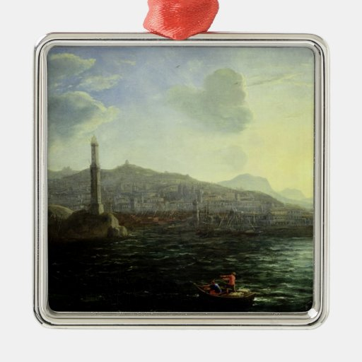 El puerto opinión de Génova, mar Adorno Cuadrado Plateado