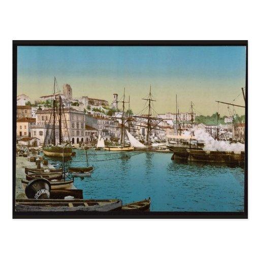 El puerto, vintage Photochrom de Cannes, Riviera Postal