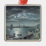 El puerto y el Cobb, Lyme Regis por claro de luna Adorno Navideño Cuadrado De Metal
