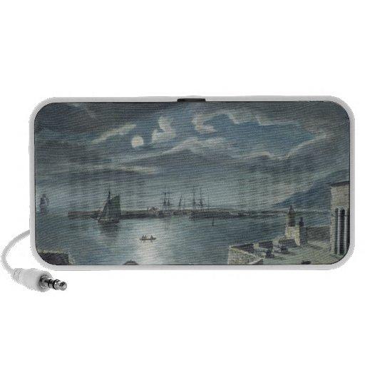 El puerto y el Cobb, Lyme Regis por claro de luna Portátil Altavoz