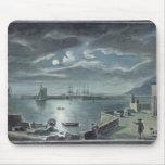 El puerto y el Cobb, Lyme Regis por claro de luna Tapete De Raton