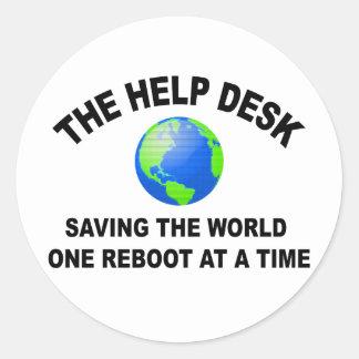 El puesto de informaciones - ahorro del mundo pegatina redonda