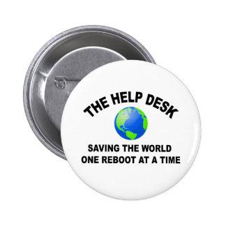 El puesto de informaciones - ahorro del mundo pin redondo de 2 pulgadas