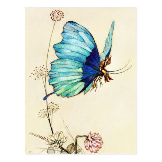 El pulgarcito engancha un paseo en una mariposa tarjeta postal