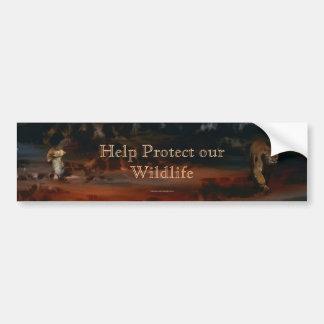 El puma y la ayuda Rojo-atada del halcón protegen  Pegatina Para Auto