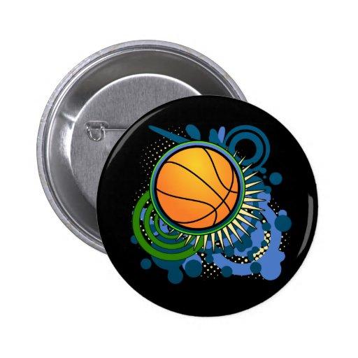 El punk del baloncesto circunda el botón azul pins