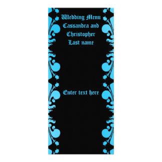El punk gótico decoloró el menú azul y negro del diseño de tarjeta publicitaria