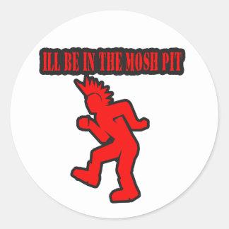 El punk rock Mosh danza de golpe moshing del hoyo Pegatinas Redondas