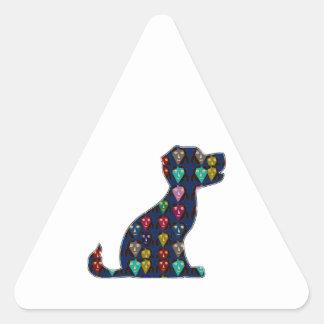 El punto LINDO del mascota del perro de perrito Pegatina Triangular