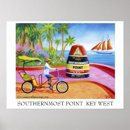 El punto más situado más al sur Key West Poster