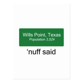 El punto 'Nuff de las voluntades dijo Tarjeta Postal
