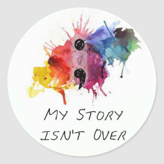 El punto y coma mi historia no ha terminado pegatina redonda