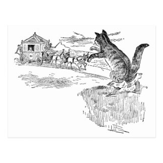 El Puss en botas señala por medio de una bandera Postal