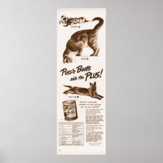 El Puss 'n del vintage patea el anuncio de la comi Póster
