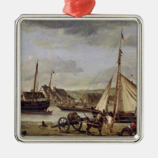El Quay del comerciante en Ruán, 1834 Adorno Navideño Cuadrado De Metal
