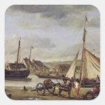 El Quay del comerciante en Ruán, 1834 Pegatina Cuadrada