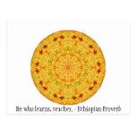 Él que aprende, enseña. - Proverbio etíope Tarjeta Postal