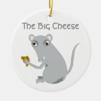El queso grande adorno navideño redondo de cerámica
